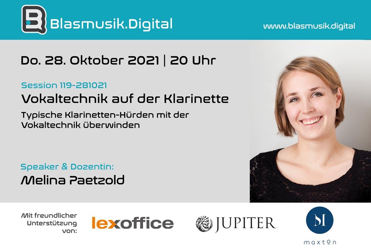 Vokaltechnik auf der Klarinette - Online Seminar auf Blasmusik.Digital mit Melina Paetzold