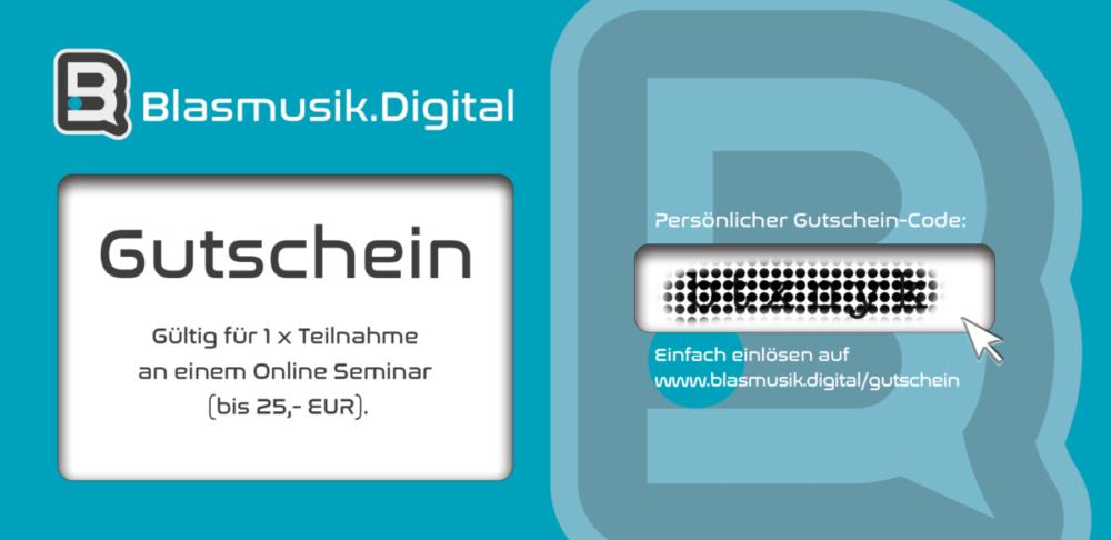 Geschenkgutschein von Blasmusik.Digital - Geschenk für Musiker - Geschenkidee