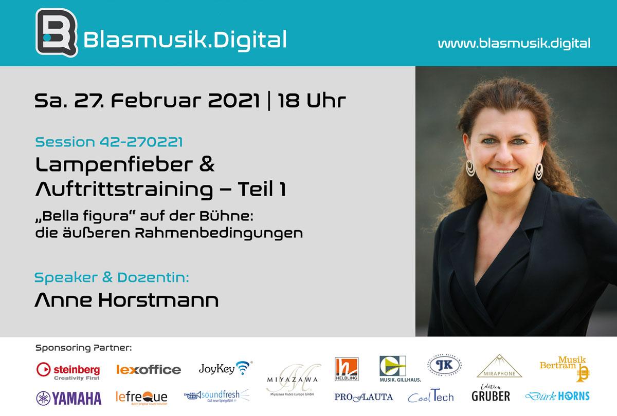 """Online Seminar """"Lampenfieber & Auftrittstraining"""" mit Anne Horstmann bei Blasmusik.Digital"""