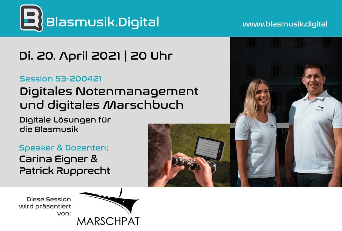 Digitales Notenmanagement und digitales Marschbuch von Marschpat - Online Seminar auf Blasmusik.Digital