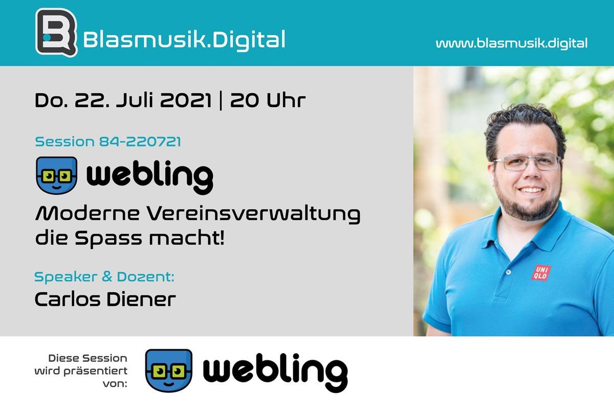 Webling - Moderne Vereinsverwaltung Software - Online Seminar auf Blasmusik.Digital mit Carlos Diener