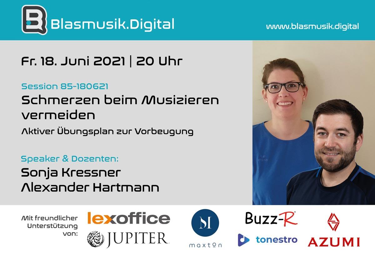 Schmerzen beim Musizieren vermeiden - Sonja Kressner und Alexander hartmann - Online Seminar auf Blasmusik.Digital