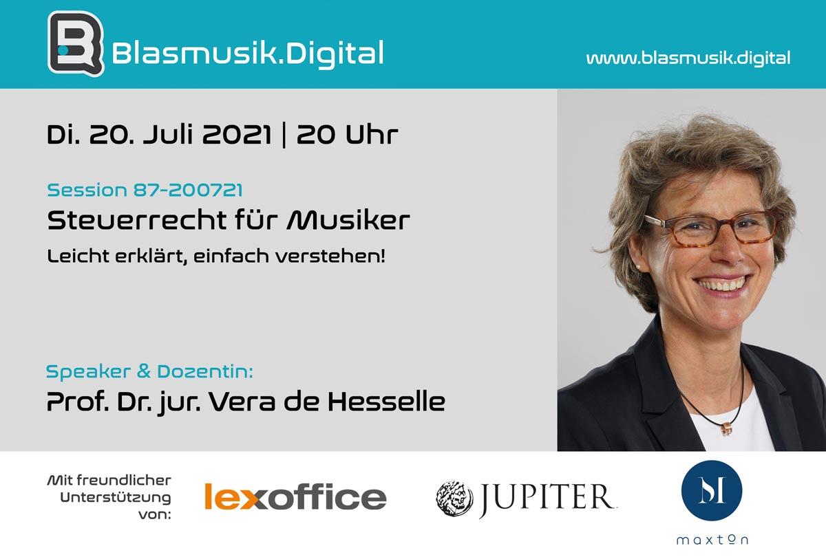 Steuerrecht für Musiker - Online Seminar auf Blasmusik.Digital mit Prof. Dr. jur. Vera de Hesselle