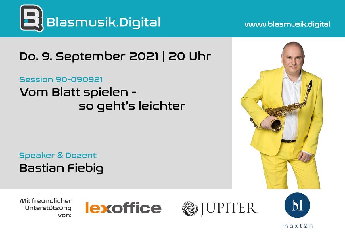 Vom Blatt spielen - so gehts leichter - Online Seminar auf Blasmusik.Digital mit Bastian Fiebig