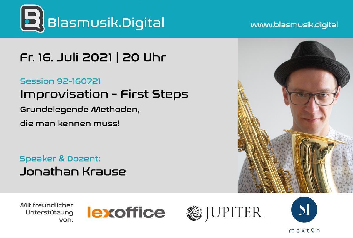Improvisation First Steps - Online Seminar auf Blasmusik.Digital mit Jonathan Krause