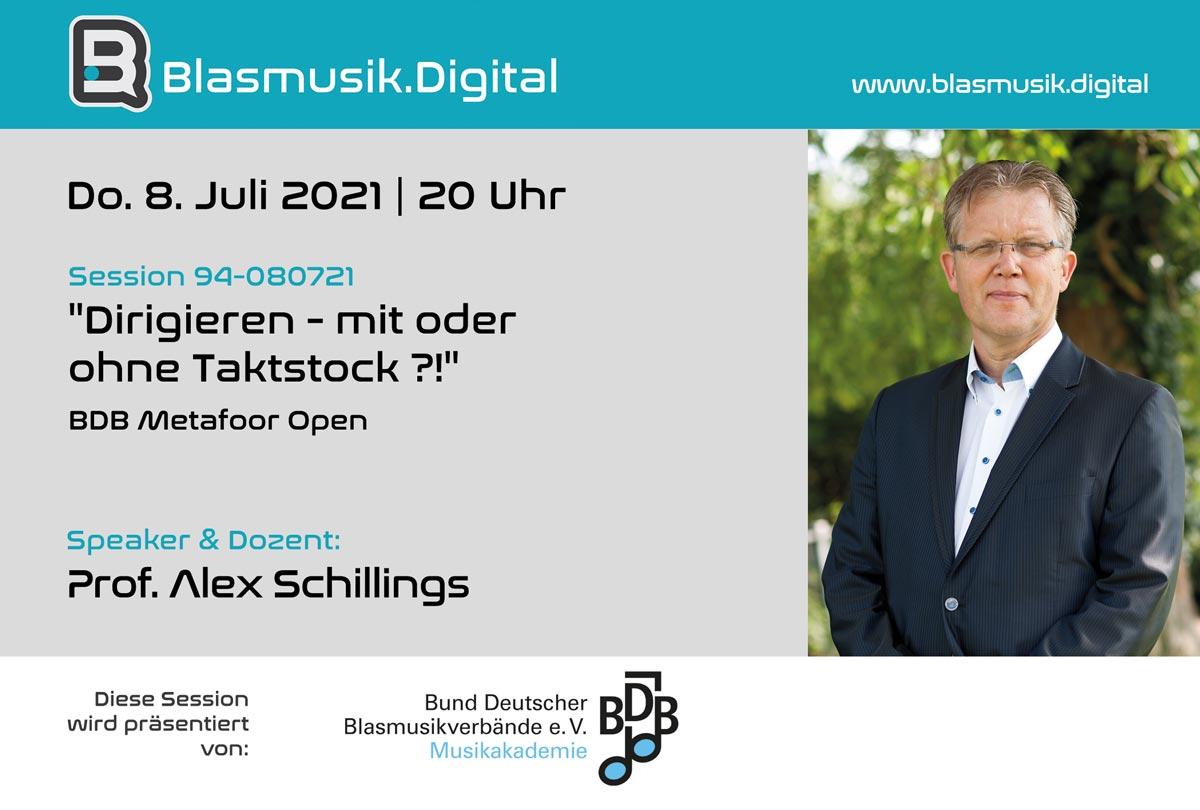 Dirigieren mit oder ohne Taktstock - Online Seminar mit Prof. Alex Schillings auf Blasmusik.Digital