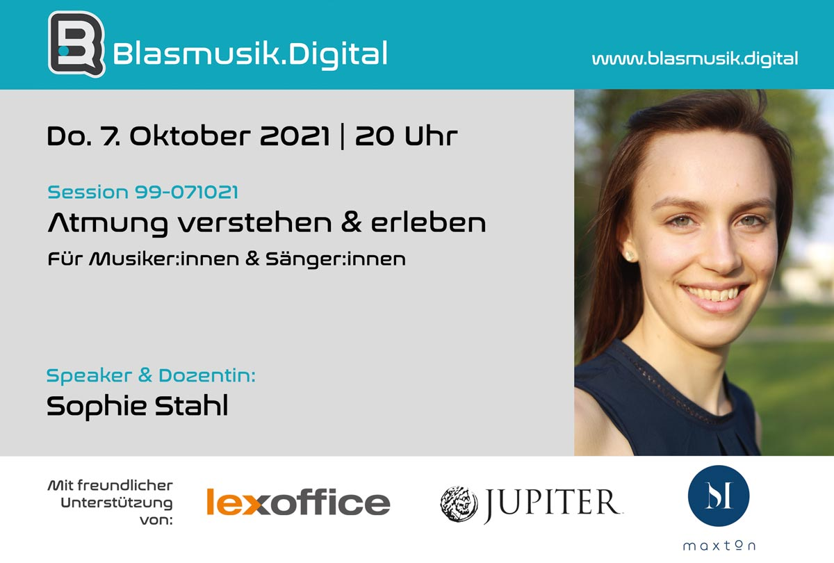 Atmung verstehen und erleben - Online Seminar auf Blasmusik.Digital mit Sophie Stahl